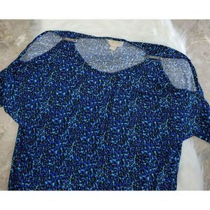 MICHAEL KORS Blue Printed Cold Shoulder Blouse M